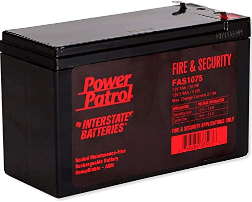 Interstate Batteries Power Patrol 12V 7Ah Fire & Security Battery (FAS1075) Sealed Lead Acid Rechargeable SLA AGM (F1 Terminal) Fire Alarms, Security Systems