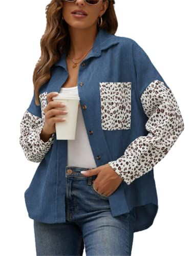 FRMUIC Women's Autumn and Winter Novelty Jacket Corduroy Leopard Print Cardigan Loose Casual Shirt Leopard Print Pocket Design Top (Large, Blue)