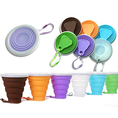 DARUNAXY Silicone Collapsible Travel Cup - 6 Pack Silicone Folding Camping Cup with Lids - Expandable Drinking Cup Set - Reuseable, Portable, Graduated [9.22oz] (Mix Color)