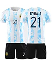 Heren Voetbal Uniform Suits, Argěntina 2020/21 Home/Away Shirts Suit, 21# Dybǎla National Team Football Jersey, Volwassen Jongens Korte Mouw + Shorts
