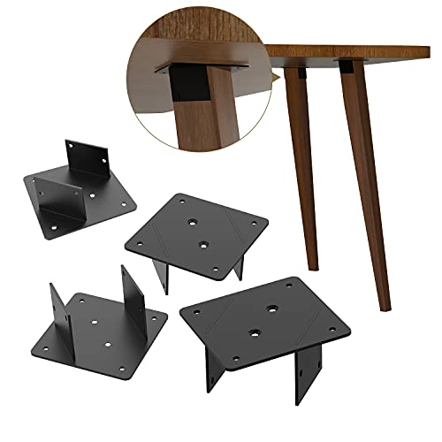 Orgerphy Furniture Leg Mounting Plates for Sofa Leg| π-Shape Slanted Style Black Leg Connectors for Table Board| Couch Chair Leg| Connector Plate Metal Plate Brackets with Screws. Set of 4 (Black)