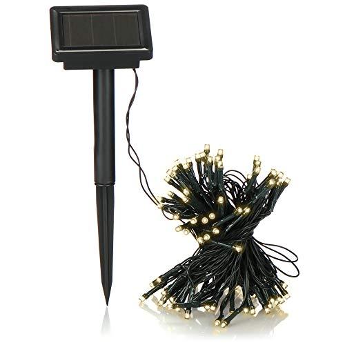 com-four® LED Lichterkette Solar warmweiß - Lichterkette außen mit 100 LED Lichtern - Gartenbeleuchtung - Party-Beleuchtung - 12 m (mit Erdspieß)