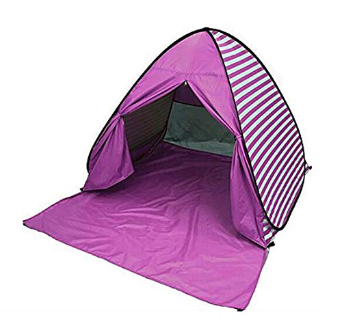 YBK Tech Pop-Up-Strandzelt, gestreift, UV-Schutz, sofort tragbar, für 2-3 Personen, rose