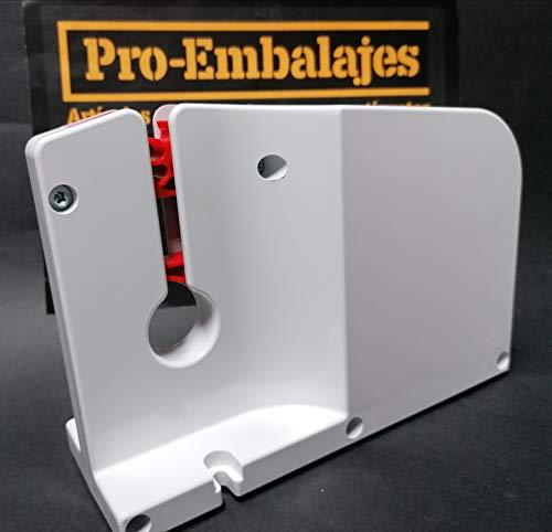 Maquina para cerrar bolsas, en plástico blanco, para cinta de 12 mm. de ancho.