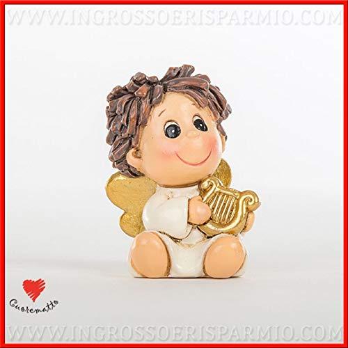 Ingrosso e Risparmio Cuorematto – Pequeña figura de resina con forma de ángel que suena un arpa dorada, detalles para indicar el asiento, bautizo, comunión macho, con caja Tiffany