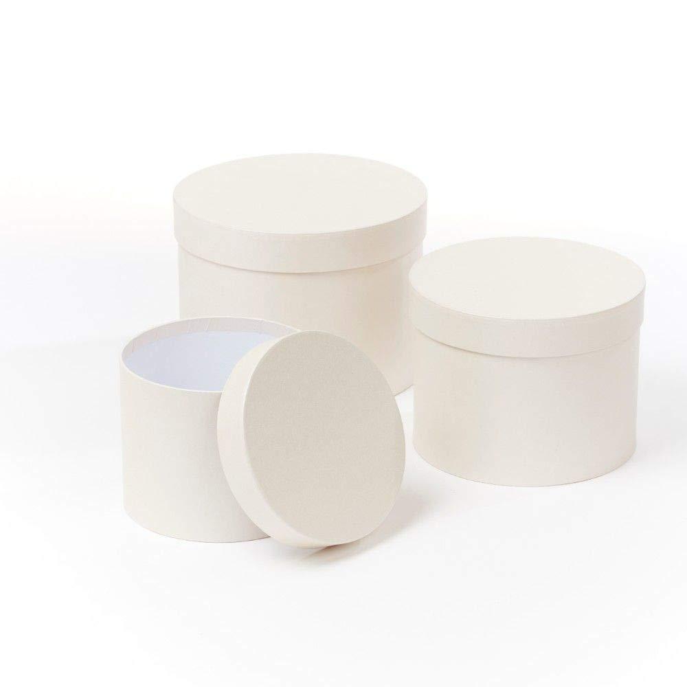 Juego de 3 cajas redondas para sombreros de flores, color crema (4654): Amazon.es: Hogar