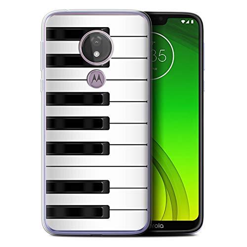 eSwish Gel TPU Hülle/Case für Motorola Moto G7 Power/Klavier/Piano Muster/Schaltfläche/Tasten Kollektion