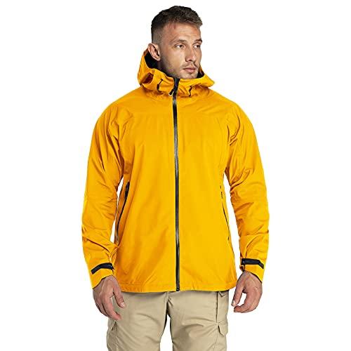 33,000ft Chaqueta para exteriores, ligera, chaqueta de lluvia, transpirable, impermeable, cortavientos, chaqueta funcional para trekking y camping, dorado, L