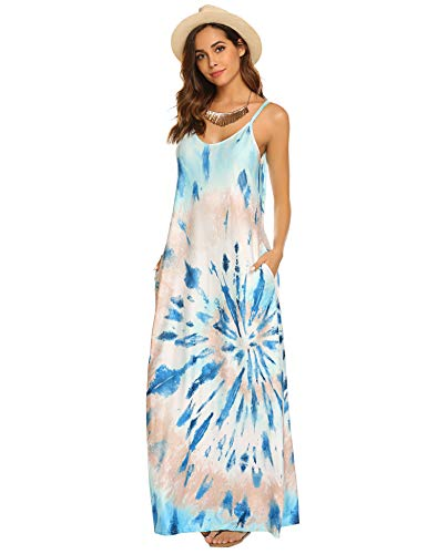 OURS Women's Spaghetti Strap Maxi Dress V Neck Tie Dye Loose Beach Oversized Beachdress(Z-Blue,XL)