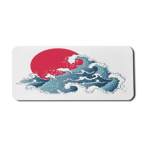 Ambesonne Japanese Computer Mouse Pad, Wave Illustration with Ocean and Sunme Oriental Print, Rectangle Non-Slip Rubber Mousepad X-Large, 35' x 15' Gaming Size, Dark Coral White