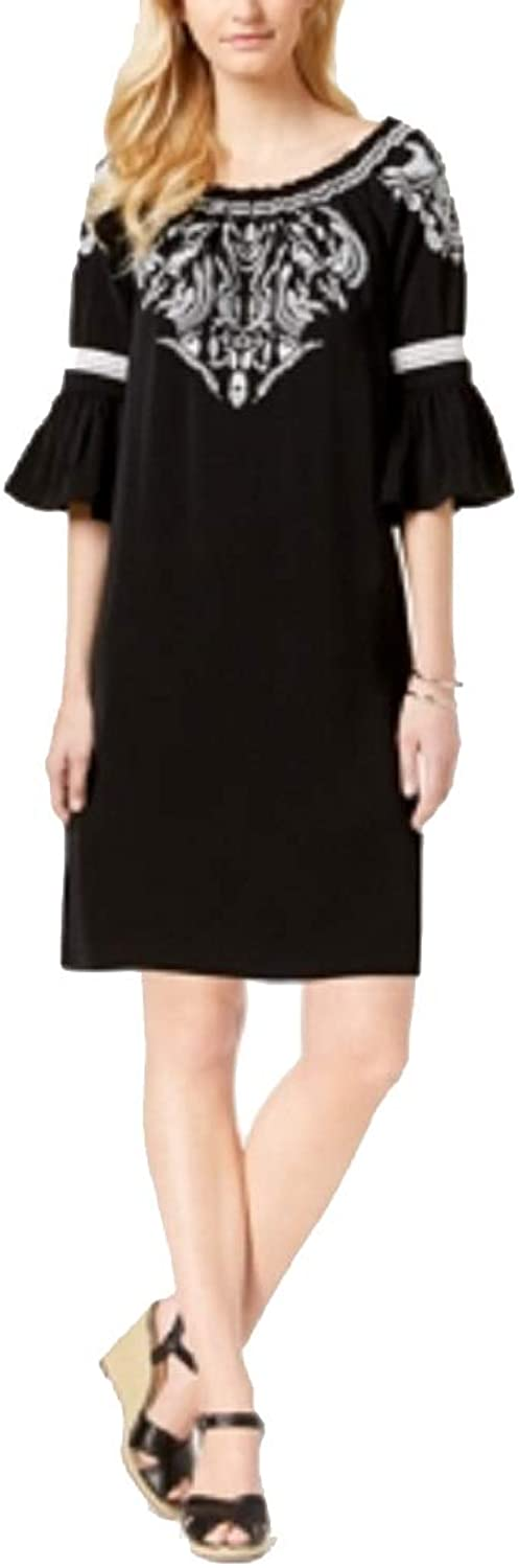 Charter Club Embroidered BellSleeve Dress