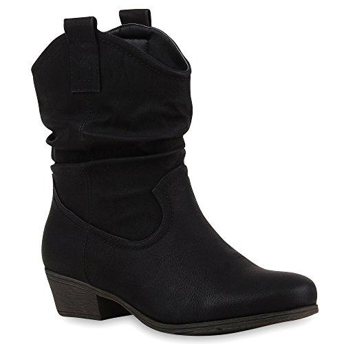 Damen Stiefeletten Cowboy Boots Holzoptikabsatz Stiefel Schlupfstiefel Blockabsatz Wildleder-Optik Schuhe 68805 Schwarz 36 Flandell