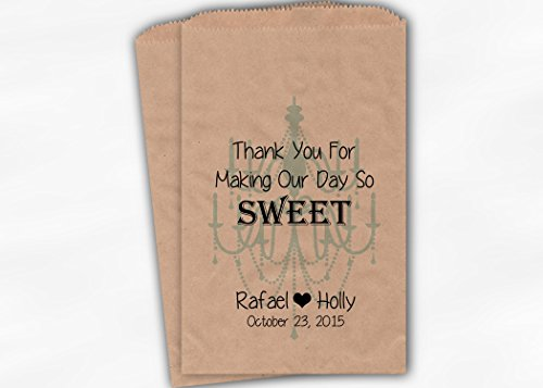 Chandelier Day So Sweet Wedding Favor Bags for Candy Buffet in Robins Egg Blue - Personalized Set of 25 Kraft Paper Bags (0152)
