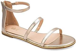 tresmode Women's Geek Metallic Dual Strap Mary Jane Flat Sandal