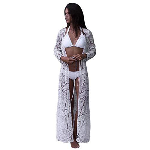 Cardigans Mujer Largo 2019 Nuevo SHOBDW Pareos Casual Cardigans Mujer Transparentes Gasa Encaje Cover Up Bikini Playa de Verano Chal Manga Larga Tops Blusa Vendaje Camisa de Protección Solar(Blanco,M)