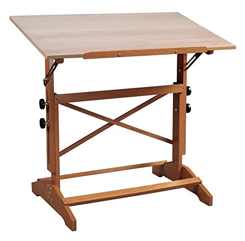 Alvin AP442 Pavillon Art & Drawing Table Cherry Finish Base, Unfinished Brown Wood Top 31' x 42', Angle Adjusts from Horizontal (0°) to 60°, Height Adjusts 31' to 40', Secured by Twin Adjustment Knobs