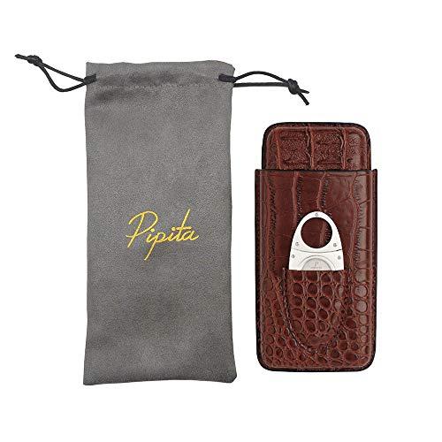 PIPITA 葉巻ケース シガレットケース レザー ポータブル シガーケース ステンレス シガーカッター 付き シガー用収納 葉巻入れ 携帯 シガーツール (3本用)
