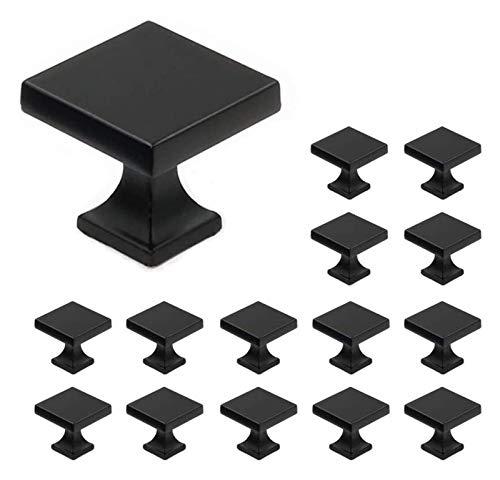 WUTONG 15 x Knobs de Muebles Negros Mate - LS6785BK Muebles Cuadrados, 28 mm * 28 mm, Asas de Armario de Metal sólido Tirador Puerta