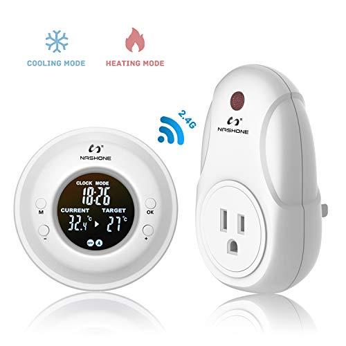 Nashone Digital Wireless Temperature Controller, Built in Temp Sensor Electric Thermostat Socket 3...