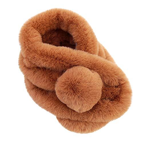 YTZL Bufanda de invierno para niños y niñas, con forro polar, color rosa, de punto, de felpa, de algodón, para otoño, de forro polar, caqui, Talla única
