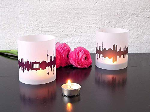 Berlin Skyline Windlicht 2er Set Lichthülle - Tischlicht Geschenk-Idee Deko personalisierbar mit eigenem Namen Text Datum Spruch Botschaft