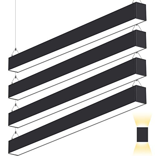 4FT 50W Architectural Direct Indirect LED Suspension Linear Light, 3000K/4000K/5000K CCT Selectable, Dimmable Commercial Office Lighting Fixture 5500lm ETL Listed 4 Pack-Black