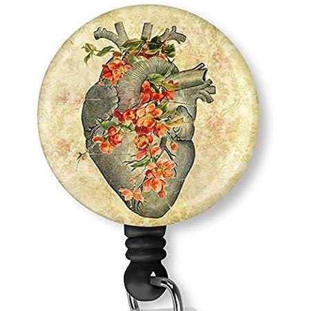 Heart and Flowers Badge Reel-Heart Badge Holder-Heart Retractable Badge Reel-Human Anatomy Badge Reel-Nurse Badge Reel-Medical Staff