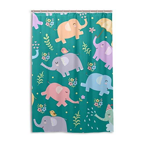 DEZIRO Cortina de baño de poliéster con diseño de elefantes con pájaros, impermeable, 48 x 72 pulgadas