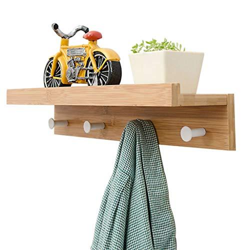 Jiahuijuan minimalistisch rek met riemhaak van hout, wandwand in L-vorm voor thuis, kleur hout