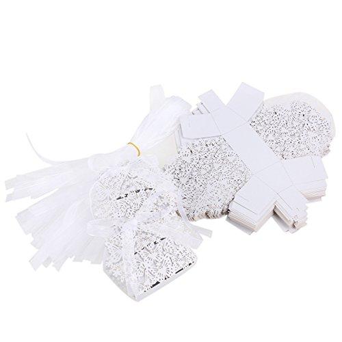 ULTNICE 50 Stück Geschenkboxen,Hohlen Schmetterling Dekor Süßigkeitskästen für Hochzeit /Meeting/Party,Weiß
