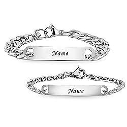 Armband mit Gravur | Personalisierbare Partnerarmbänder mit Gravur | Hochwertiges Pärchenarmband in Silber | Persönliche Namensgravur | Freundschaftsarmband (mit Gravur)