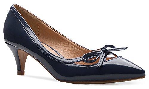 Olivia K D'Orsay Damen Pumps mit geschlossenem Zehenbereich, Schleife, Kitten-Heels, für Kleid, Arbeit, Party, mittelhoher Absatz, Blau (navy), 42 EU