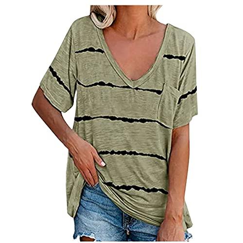 Camiseta Mujer Casual de Color Sólido de Raya con Bolsillos Tops Manga Corta de Cuello V Blusas Elegante Basica Camisa Suave y Ligero Camisetas Suelto Verano Playa y Fiesta