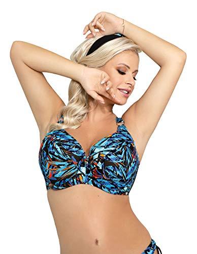 Nessa Women's Capri Blue Multicolour Floral Padded Underwired Soft Cup Bikini Top 70I