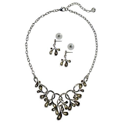 Trachtenschmuck Dirndl-Collier Trachtenkette Ornament Trachten-Kette Schmuck + Ohrringe Halskette Dirndlkette Dirndlohringe Trachtenohrringe nickelfrei Handarbeit, Farbe:grün
