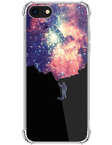 kinnter Transparent Handyhülle Kompatibel mit iPhone SE (2020) Hülle Silikon Ultra Dünn TPU Bumper Stoßfest Schutzhülle Original Design für iPhone SE (2020) Tasche Cover