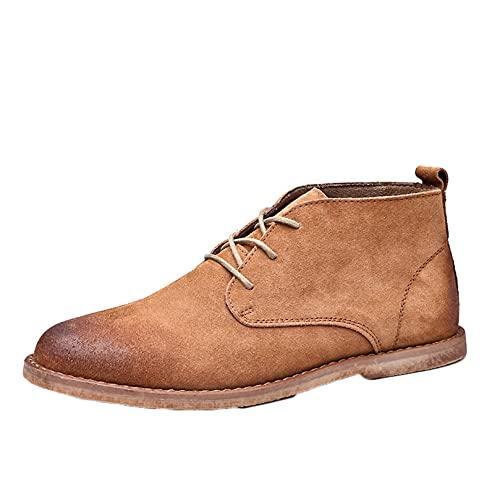 Botas de trabajo de tobillo cortas para hombres, botas altas para exteriores a prueba de viento, puntiagudas, con cordones, botas casuales para caminar para el desierto, anki-slip