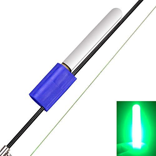 QLING - Varillas Luminosas de Pesca, Mini Barras de Brillo para caña de Pescar con Clip para luz Nocturna, Verde, Tamaño Libre