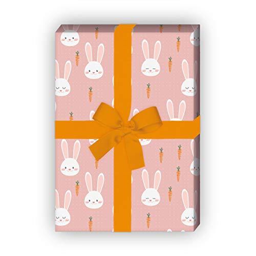 Kartenkaufrausch Süßes Häschen Geschenkpapier Set mit Karotten auf Punkten für tolle Geschenk Verpackung 32 x 48cm, 4 Bögen zum Einpacken für Geburtstage, Geburt, Ostern, rosa