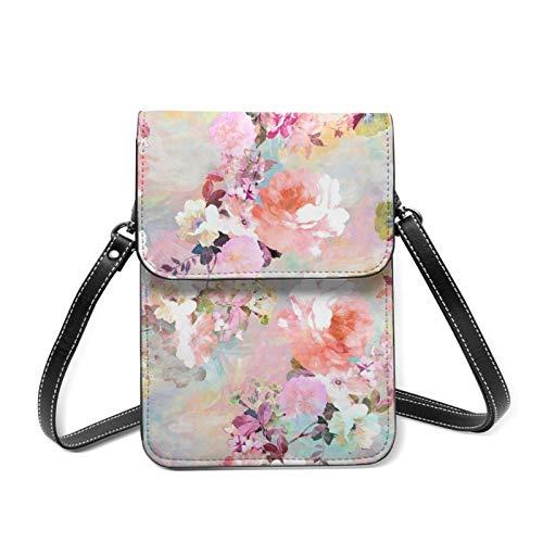 Bolso de teléfono celular moderno floral rosa púrpura pastel ligero Crossbody para las mujeres amplios bolsillos bolsas