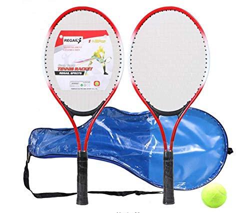 ZTT Raqueta De Tenis Infantil De 21 Pulgadas, Raqueta De Tenis Junior De Ferroaleación, Dos Raquetas Y Una Pelota, Incluida La Bolsa,Rojo