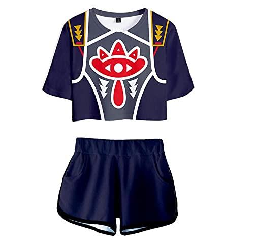 ZMZZF Chándales,Conjunto De Pantalones Cortos De Camiseta Sword Art Onlin 2 Piezas Ropa Deportiva De Anime Unisex Pijamas Cortos Estampados para Mujer Estilo 2 Azul Marino M