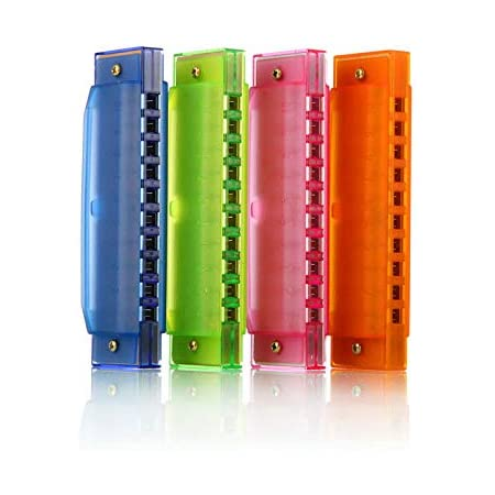 LHKJ 2 Pcs 10 Holes Harmonica Plastic Color Harmonica Musical Educational Toys for Children Educational Toys Early Childhood Blue and Pink