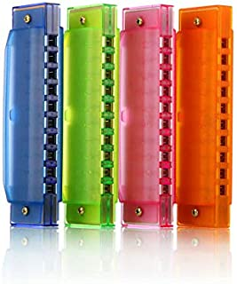 Kids Harmonica 10 Hole Plastic Harmonica for Kids, 4 Pack with 4 Colors Educational Toys Beginners Toy Musical Instruments...