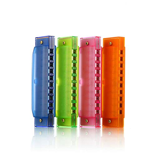 Kids Harmonica 10 Hole Plastic Harmonica for Kids, 4 Pack with 4 Colors Educational Toys Beginners Toy Musical Instruments for Kids, Children and Adults (Blue, Pink, Green, Orange)