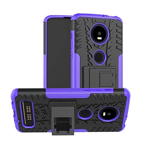 TiHen Handyhülle für Motorola Moto Z4 Play Hülle, 360 Grad Ganzkörper Schutzhülle + Panzerglas Schutzfolie 2 Stück Stoßfest zhülle Handys Tasche Bumper Hülle Cover Skin mit Ständer -lila