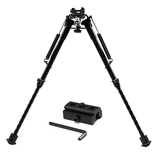 Pinty Rifle Tactical Bipod Adjustable Spring Return Adapter Compatible with Picatinny Rail System Adjustable 9-13 Inch Height