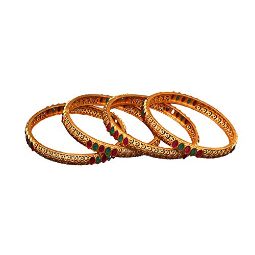 SURYAGEMS Handmade Bangles Marquise Emerald, Ruby CZ Studded Gold Plated Exclusive Bridal Collection Designer Kada Set Gift for Women Girls Ladies Set of four-K 1024-6-2.62