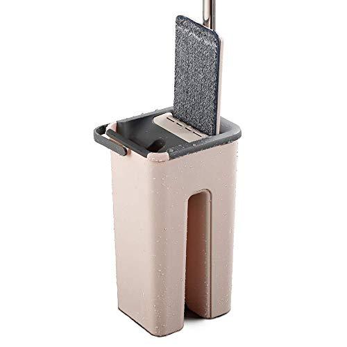 Spray Magic - Mopa de giro automático, evita lavar a mano, paño de limpieza de fibra ultrafina, mango de acero inoxidable, para el hogar, cocina, suelo de madera