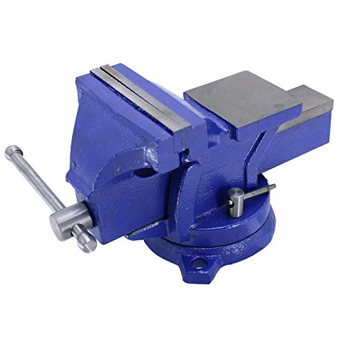 "HFS (R) 5"" Heavyduty Bench Vise Anvil Forged.360 Swivel Locking Base Desktop Clamp (16LBS), FS Blue Design"